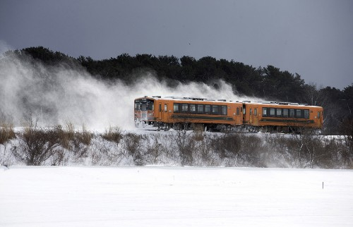 A Wintry Ride in a Japanese Potbelly Stove Train