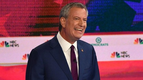 Bill de Blasio Tries to Mix It Up at Democratic Debate