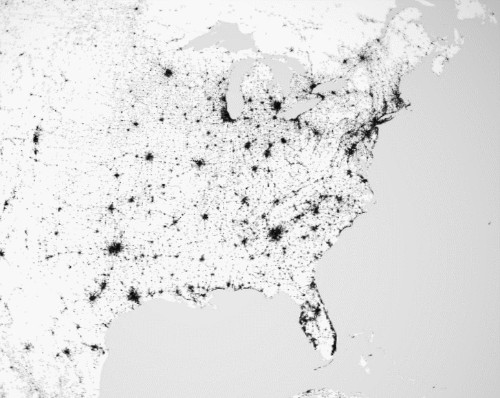 An Elegant Monochrome Map of the World's Settlements