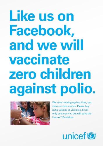 UNICEF Tells Slacktivists: Give Money, Not Facebook Likes