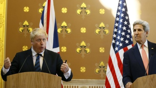 Boris Johnson's Awkward News Conference With John Kerry
