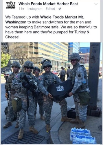Whole Foods Blasted Online After Making Sandwiches for Members of the National Guard in Baltimore