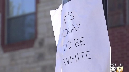'It's okay to be white' signs emerge in Texas neighborhood. Identical posters pop up on campuses.
