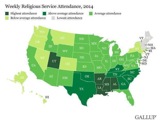 Which States Attend Church the Most? New Map Has the Answer