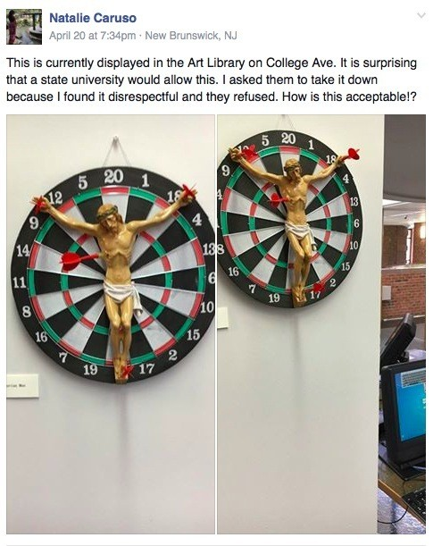 'Sickening': Art Piece Featuring 'Jesus Crucified to a Dartboard' Causes Furor at Rutgers University