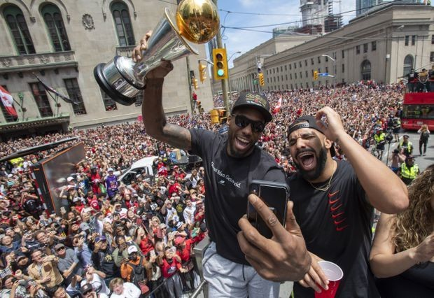 'It's not time to stress': Kawhi Leonard tight-lipped on future as Raptors celebrate with fans