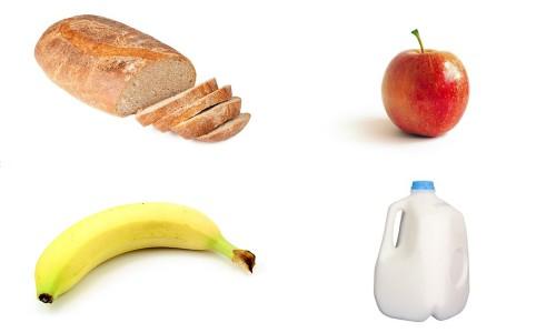 Bread, Apple, Banana, Milk, Goodbye