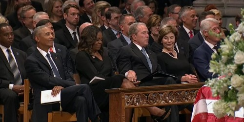 George W. Bush Slipped a Piece of Candy to Michelle Obama at McCain's Funeral and the Internet is Glad