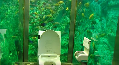 Japan's coolest cafe bathroom is surrounded by a massive aquarium