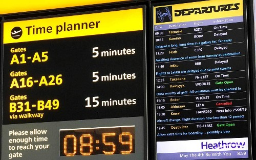 Heathrow Airport Posted a Hilarious Departure Board Full of 'Star Wars' Jokes for May the Fourth