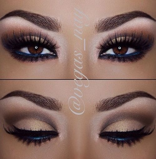 Many brands of fashionably applied eye makeup.