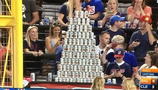 Behold This Glorious Beer Pyramid That Cleveland Indians Fans Built In The Outfield Stands