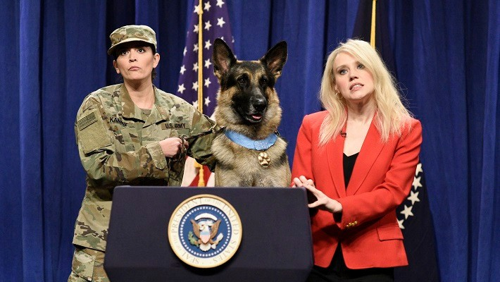 Conan The 'Hero Dog' Gets Her Own Press Conference On 'SNL' And Nothing Goes According To Plan