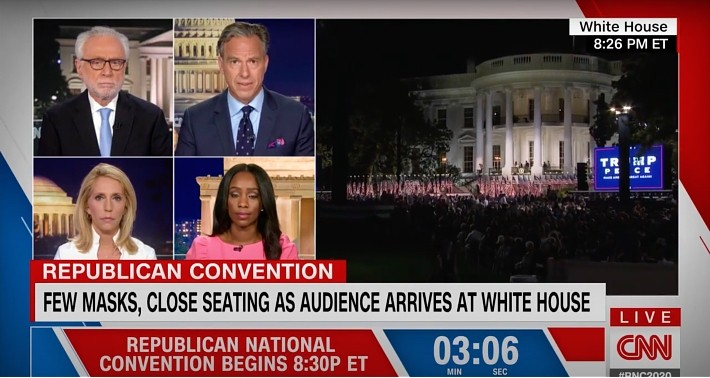 Jake Tapper Lost It Over No Social Distancing At Trump's RNC Speech