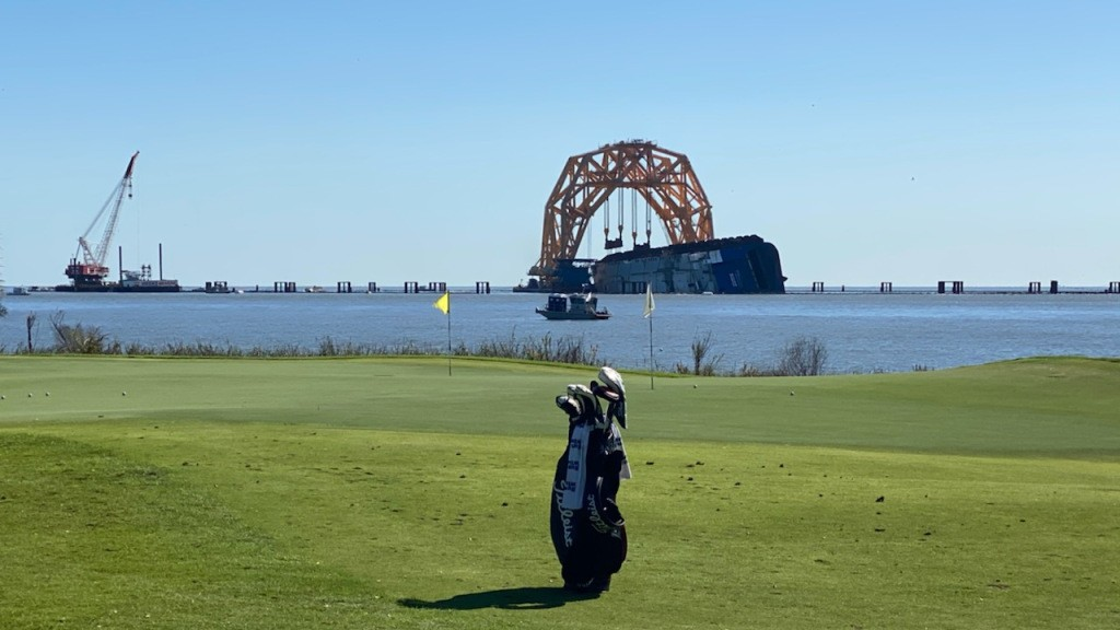 It's still there: Capsized cargo ship off coast of Georgia visible at RSM Classic