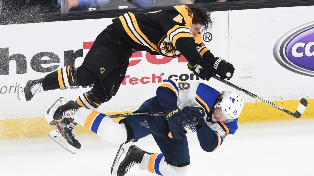 A helmet-less Torey Krug delivered the hit of the NHL playoffs against the Blues