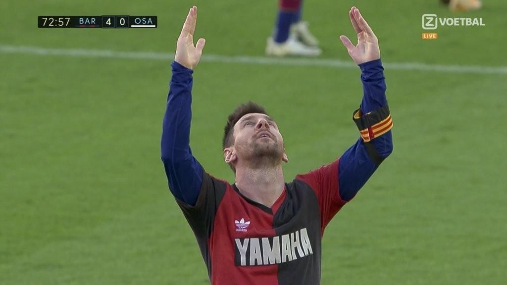 Messi scores, takes off shirt to unveil a touching tribute to Diego Maradona
