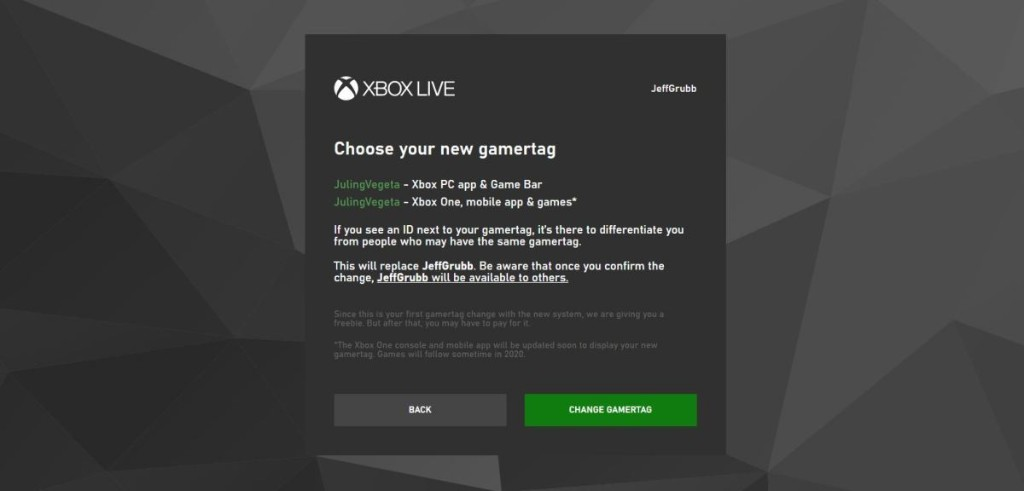 Xbox Live change enables you to choose any gamertag you want