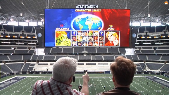 Watch Conan O'Brien spam Street Fighter II crotch punches on the world's largest HD Jumbotron