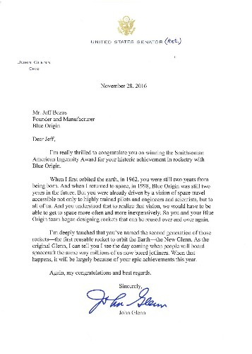 John Glenn wrote Jeff Bezos a letter that he received the day the astronaut died