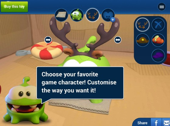Toyze makes custom 3D-printed figures from mobile games—like Cut The Rope's Om Nom (exclusive)