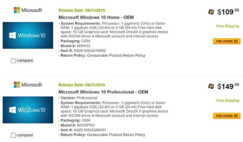 Windows 10 and Windows 10 Pro OEM pricing leaked by Newegg.com