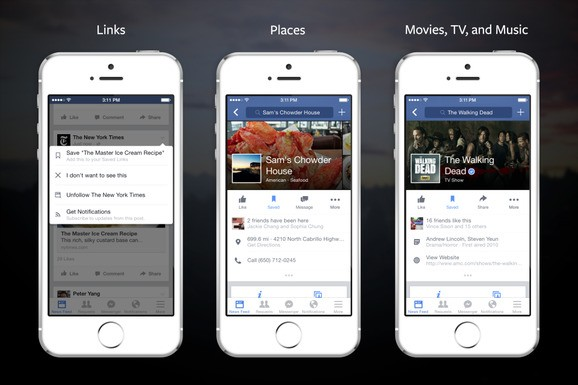 Facebook now lets you 'save' links, music, and places for later
