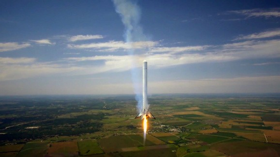 Watch SpaceX's rocket float 3,280 feet above the cows — then smoothly land on the prairie