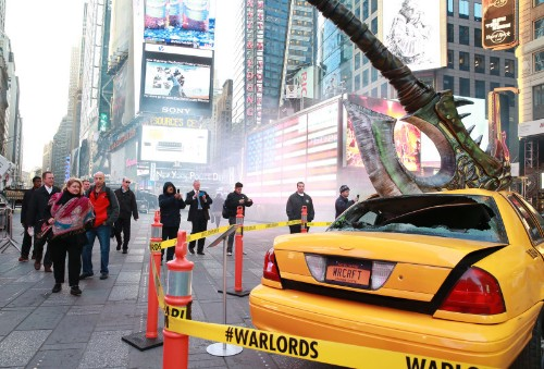 World of Warcraft: Warlords of Draenor launch impales taxi with massive axe in Times Square