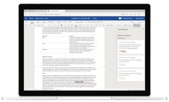 Microsoft debuts Ideas in Word, a grammar and style suggestions tool powered by AI