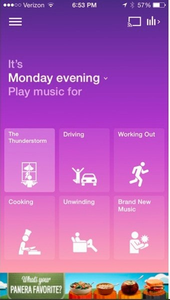 Songza now pulls data from The Weather Channel to recommend music