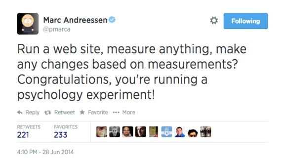 Facebook investor Andreessen sarcastically defends Facebook's mood experiment