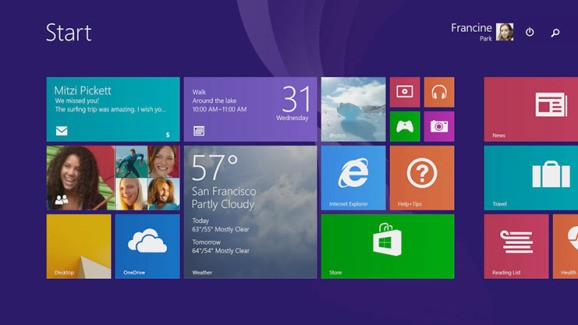Windows 8.1 is now moving up on the outside …