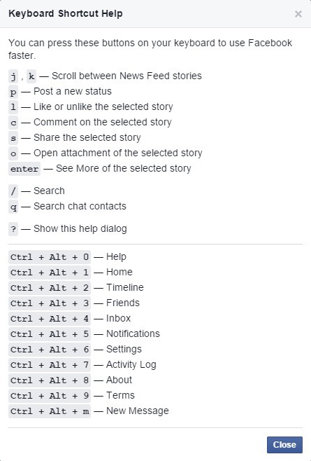 How to use Facebook with keyboard shortcuts