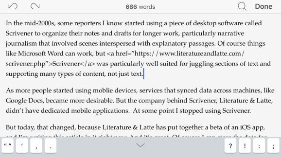 Hands-on with the Scrivener writing app for iOS