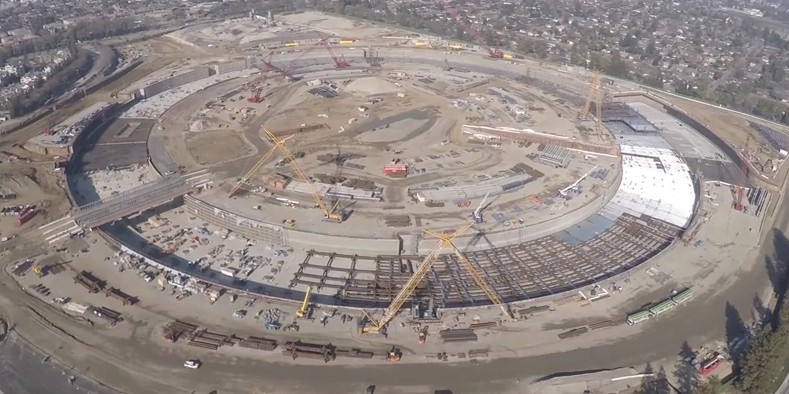 New drone video shows progress on Apple 'spaceship' campus after one year of construction