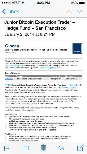 San Francisco hedge fund hiring a Bitcoin trader