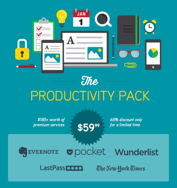 Evernote, LastPass, Pocket, and Wunderlist offer combined one-year subscription bundle for $60