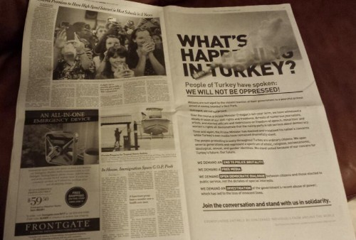 Turkish citizens crowdfund full-page ad in NY Times to fuel protests