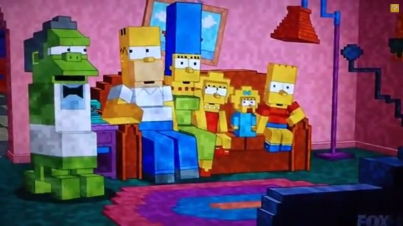 Minecraft and 'The Simpsons' — watch Homer and the gang's blocky couch gag