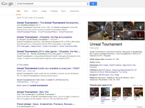 Google search finally adds information about video games