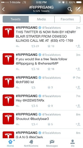 Tesla Motors website and Twitter account were hacked