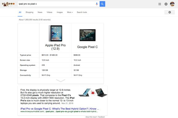 Google now shows a card to compare products in search results