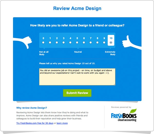 FreshBooks' accounting tool gives small businesses an easy way to get customer reviews