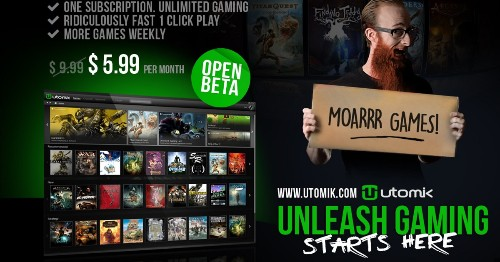 Utomik starts beta test of 'Netflix for games' with 145 titles for $5.99 per month