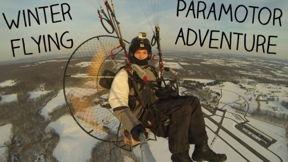 Watch this guy strap a paramotor on his back and go on an adventure