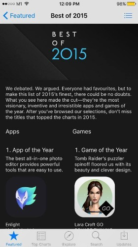 Enlight and Lara Croft GO win Apple's 'Best of 2015' app and game on iPhone (Updated)