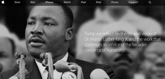 Apple dedicates entire homepage to Martin Luther King, though employees don't get the day off