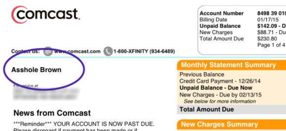 Comcast is sorry that it changed one customer's name to 'Asshole'