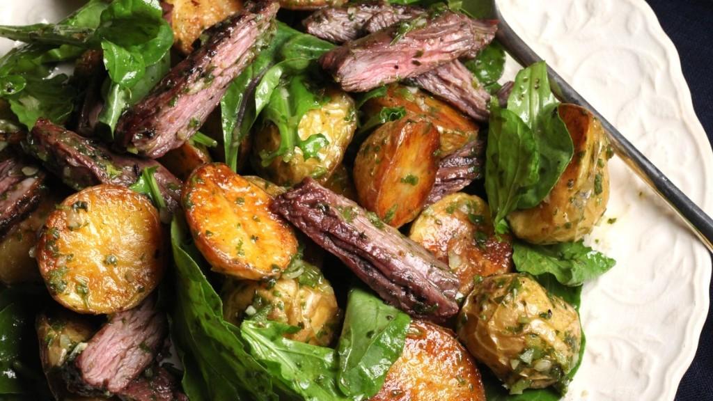Skirt Steak, Arugula, and Potato Salad Recipe